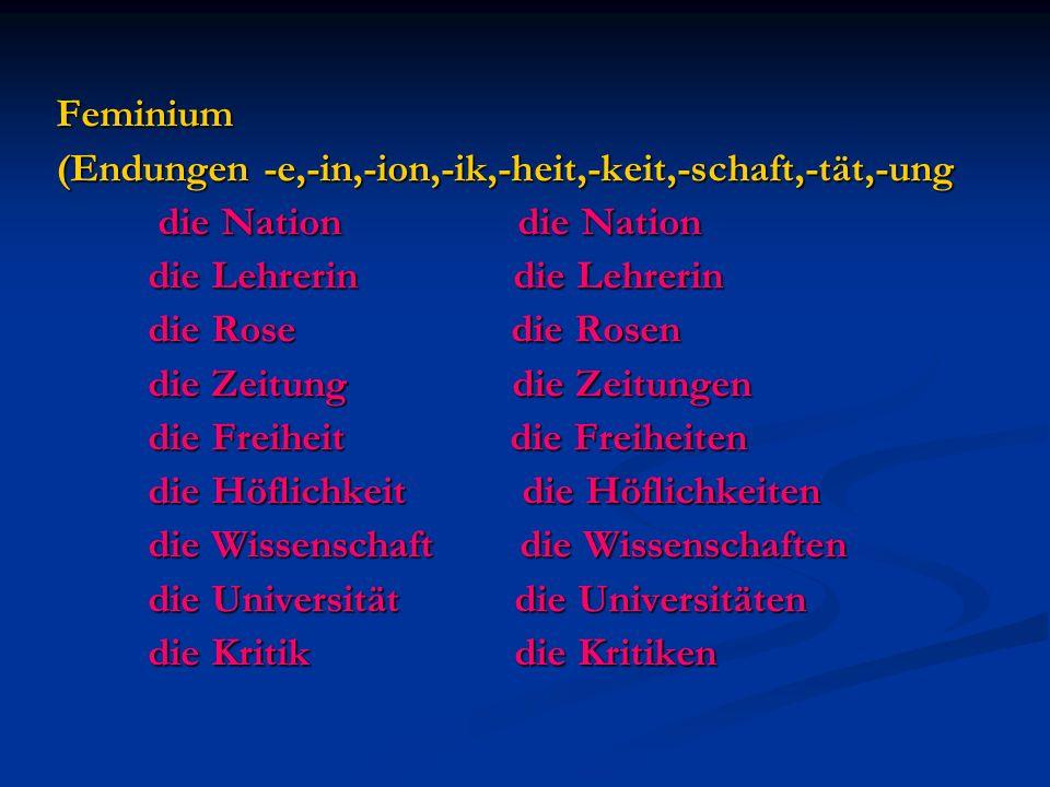 Feminium (Endungen -e,-in,-ion,-ik,-heit,-keit,-schaft,-tät,-ung die Nation die Nation die Nation die Nation die Lehrerin die Lehrerin die Lehrerin di