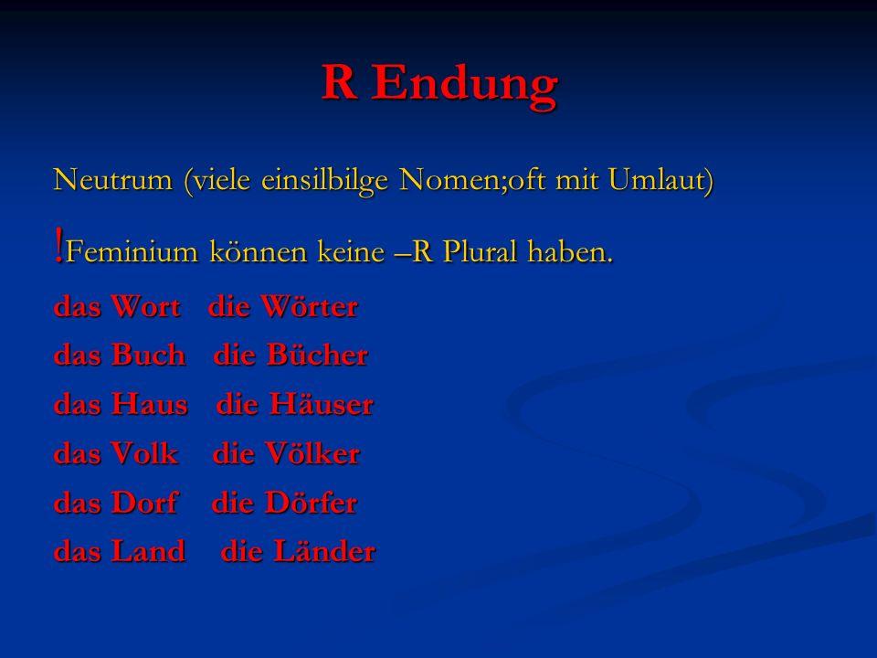 R Endung Neutrum (viele einsilbilge Nomen;oft mit Umlaut) ! Feminium können keine –R Plural haben. das Wort die Wörter das Buch die Bücher das Haus di
