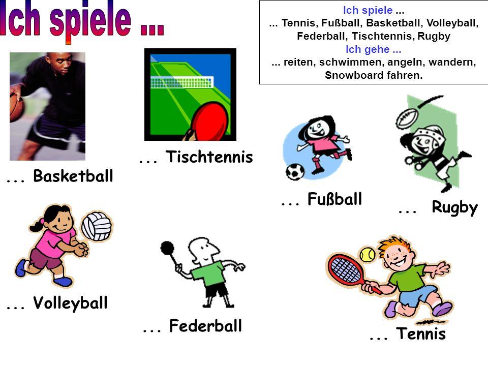 Ich spiele...... Tennis, Fußball, Basketball, Volleyball, Federball, Tischtennis, Rugby Ich gehe...... reiten, schwimmen, angeln, wandern, Snowboard f