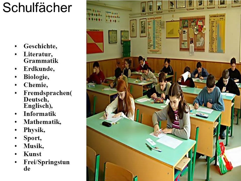 Schulfächer Geschichte, Literatur, Grammatik Erdkunde, Biologie, Chemie, Fremdsprachen( Deutsch, Englisch), Informatik Mathematik, Physik, Sport, Musi