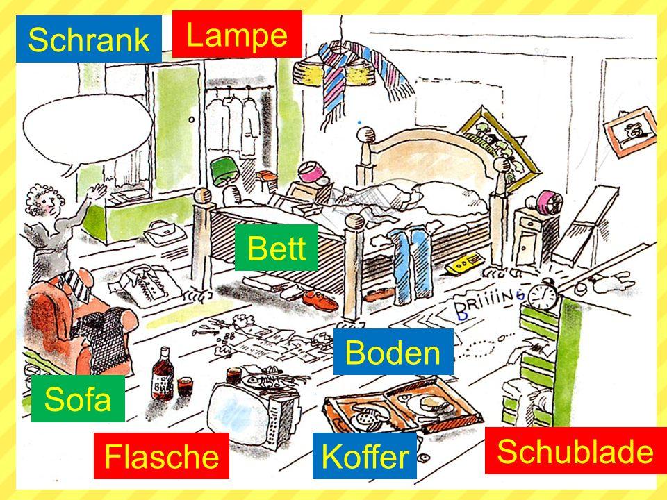 Schrank Bett Schublade Sofa Lampe FlascheKoffer Boden