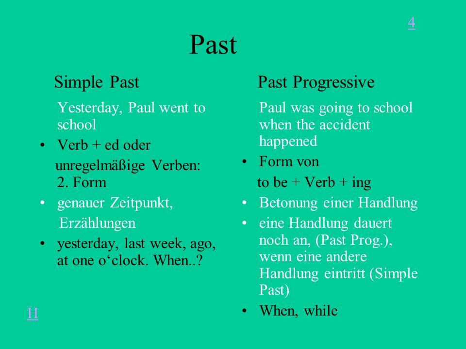 Past Simple Past Past Progressive Yesterday, Paul went to school Verb + ed oder unregelmäßige Verben: 2.