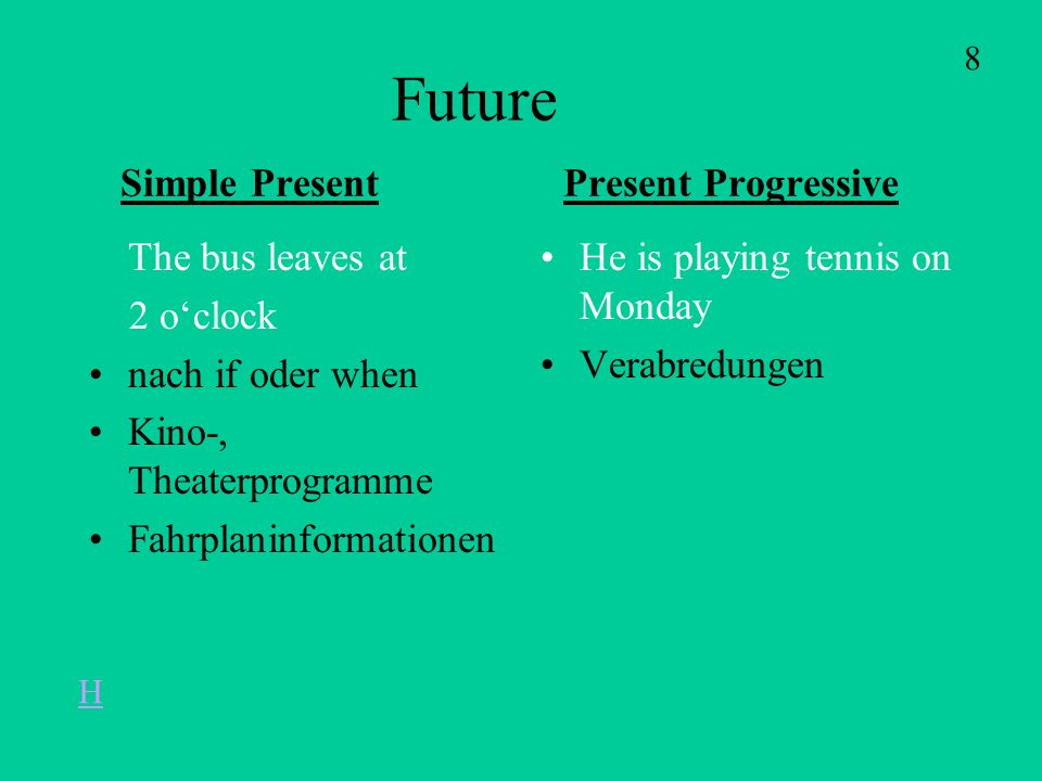 Future Simple Present Present Progressive The bus leaves at 2 oclock nach if oder when Kino-, Theaterprogramme Fahrplaninformationen He is playing tennis on Monday Verabredungen 8 H