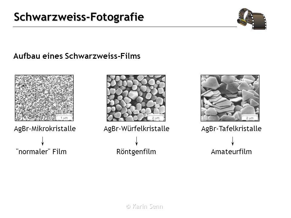 Schwarzweiss-Fotografie Aufbau eines Schwarzweiss-Films AgBr-MikrokristalleAgBr-WürfelkristalleAgBr-Tafelkristalle normaler FilmRöntgenfilmAmateurfilm