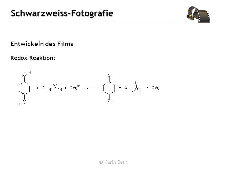 Schwarzweiss-Fotografie Entwickeln des Films Redox-Reaktion: