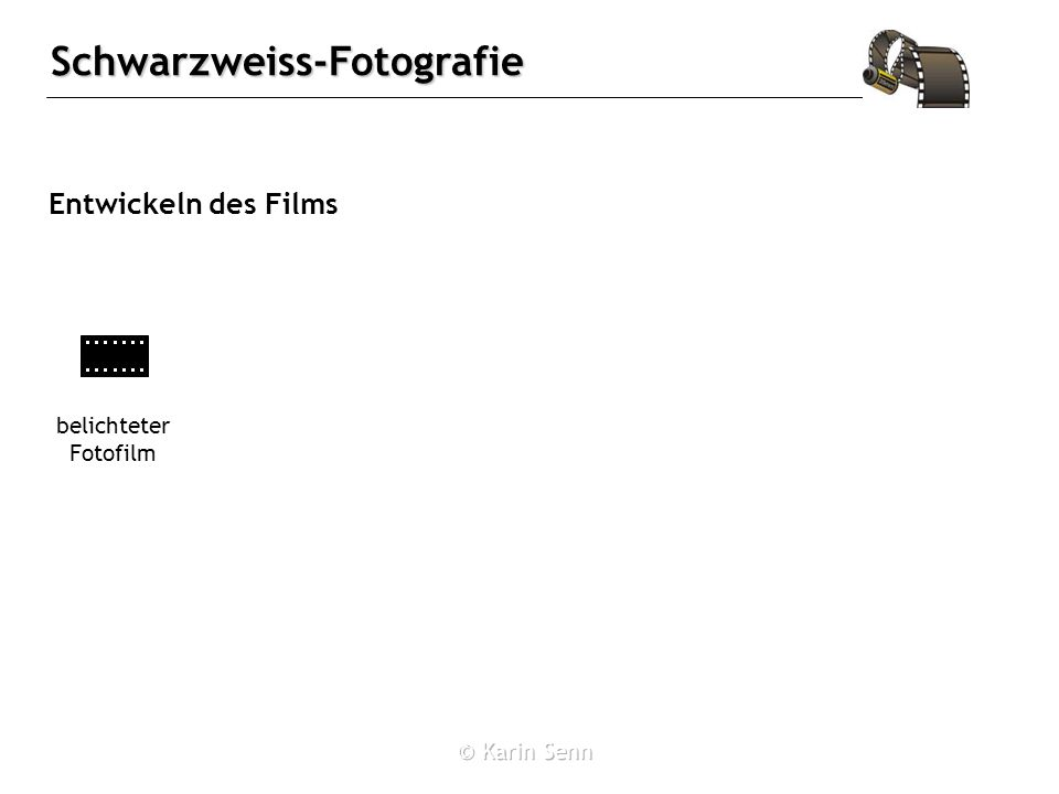 Schwarzweiss-Fotografie Entwickeln des Films belichteter Fotofilm