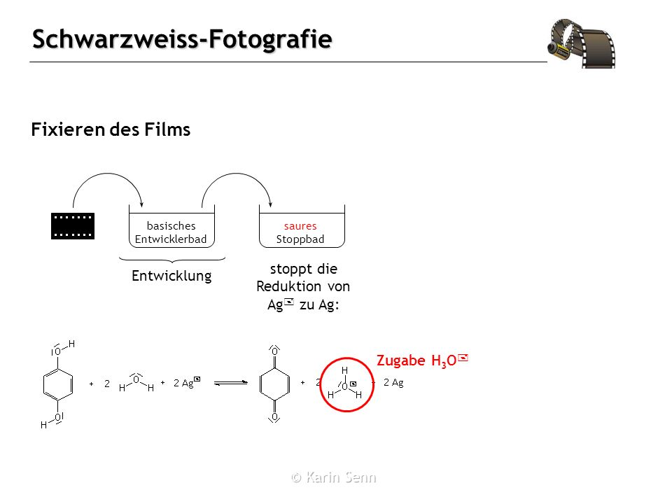 Schwarzweiss-Fotografie Fixieren des Films basisches Entwicklerbad saures Stoppbad stoppt die Reduktion von Ag + zu Ag: Entwicklung Zugabe H 3 O +