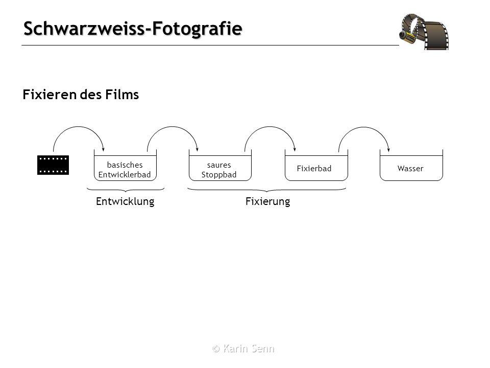 Schwarzweiss-Fotografie Fixieren des Films basisches Entwicklerbad saures Stoppbad WasserFixierbad EntwicklungFixierung
