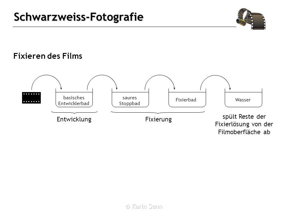 Schwarzweiss-Fotografie Fixieren des Films spült Reste der Fixierlösung von der Filmoberfläche ab basisches Entwicklerbad saures Stoppbad WasserFixierbad EntwicklungFixierung