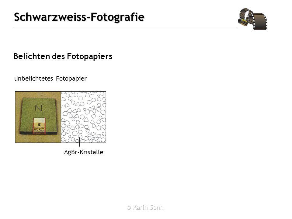 Schwarzweiss-Fotografie Belichten des Fotopapiers unbelichtetes Fotopapier AgBr-Kristalle