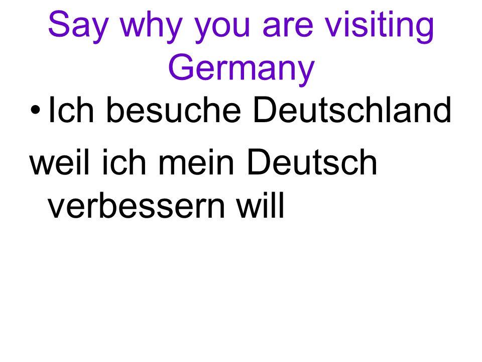 Say why you are visiting Germany Ich besuche Deutschland weil ich mein Deutsch verbessern will