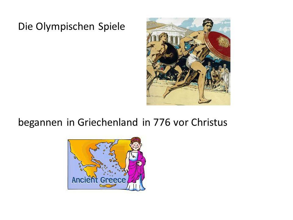 Die modernen Olympischen Spiele begannen in 1896.Die Spiele waren in Athen, Griechenland.