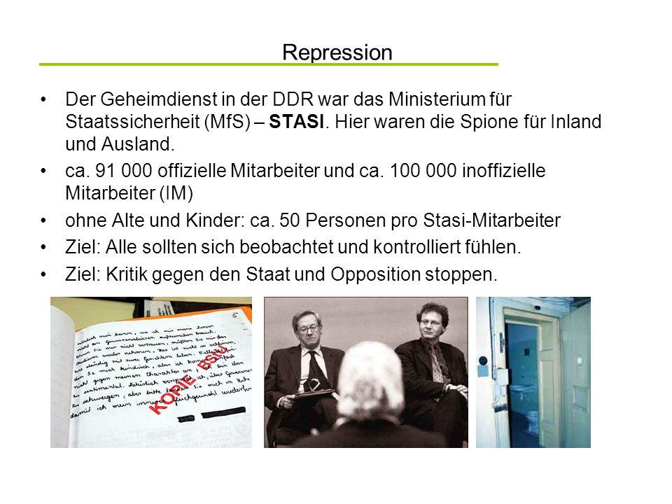 Repression Der Geheimdienst in der DDR war das Ministerium für Staatssicherheit (MfS) – STASI. Hier waren die Spione für Inland und Ausland. ca. 91 00