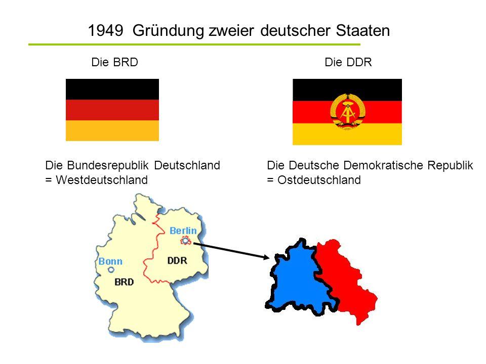 1949 Gründung zweier deutscher Staaten Die BRDDie DDR Die Bundesrepublik Deutschland = Westdeutschland Die Deutsche Demokratische Republik = Ostdeutsc