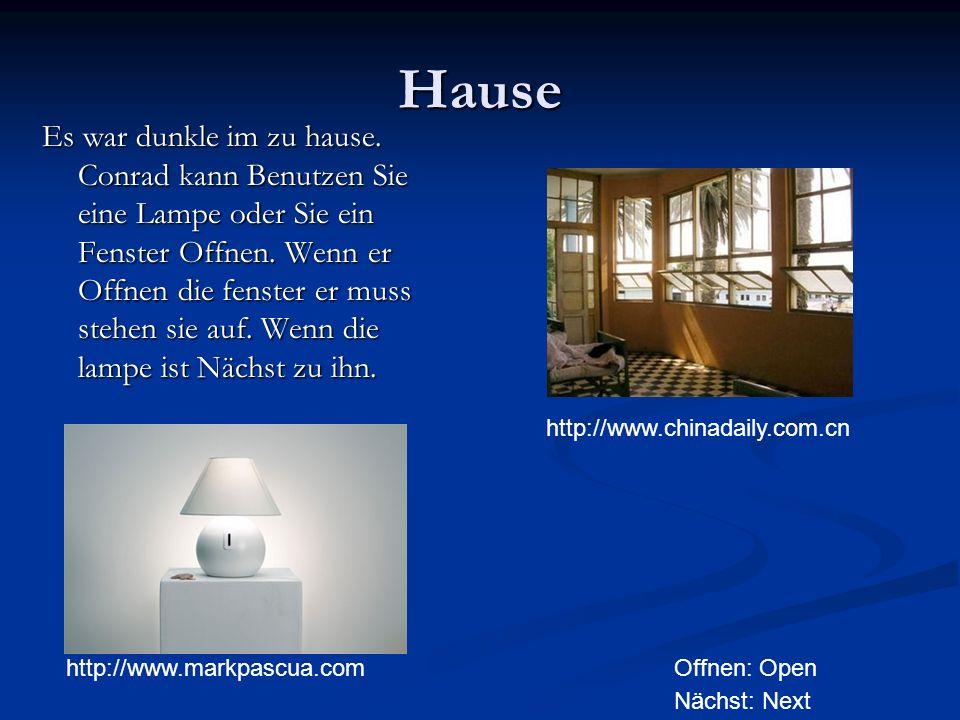 Hause Es war dunkle im zu hause. Conrad kann Benutzen Sie eine Lampe oder Sie ein Fenster Offnen.