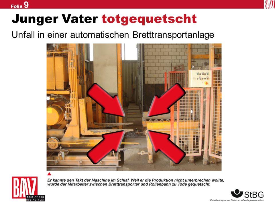 Folie 8 Gefahr im Aufzug Einsatz bei laufender Anlage und falsch montiertem Verriegelungsschalter