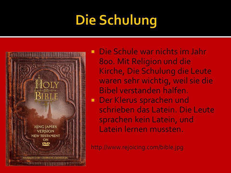 Die Schule war nichts im Jahr 800. Mit Religion und die Kirche, Die Schulung die Leute waren sehr wichtig, weil sie die Bibel verstanden halfen. Der K