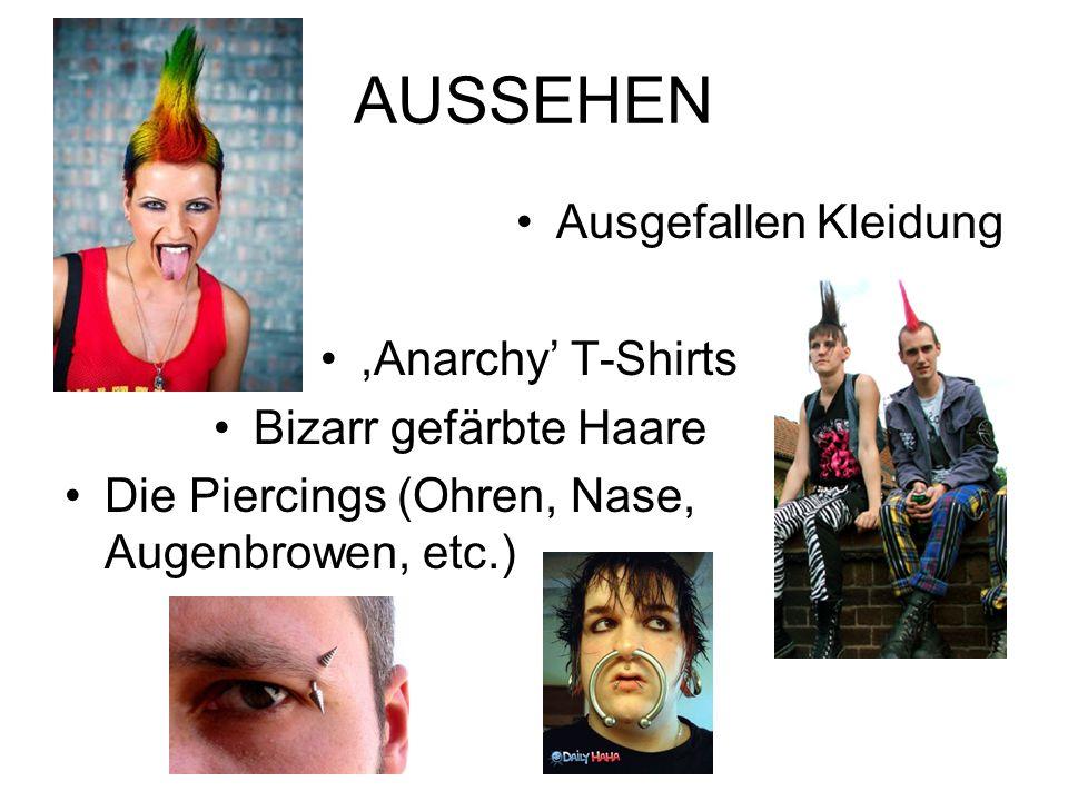 AUSSEHEN Ausgefallen Kleidung,Anarchy T-Shirts Bizarr gefärbte Haare Die Piercings (Ohren, Nase, Augenbrowen, etc.)
