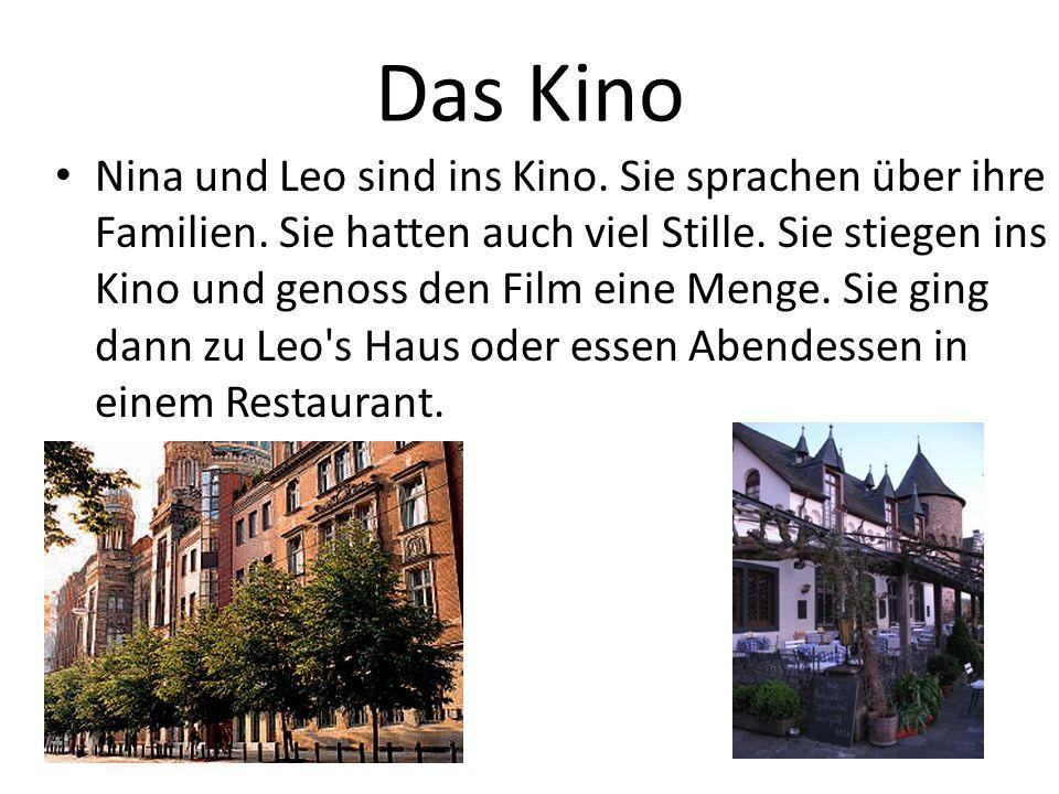 Das Kino Nina und Leo sind ins Kino.Sie sprachen über ihre Familien.