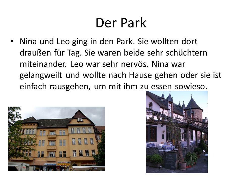 Der Park Nina und Leo ging in den Park.Sie wollten dort draußen für Tag.