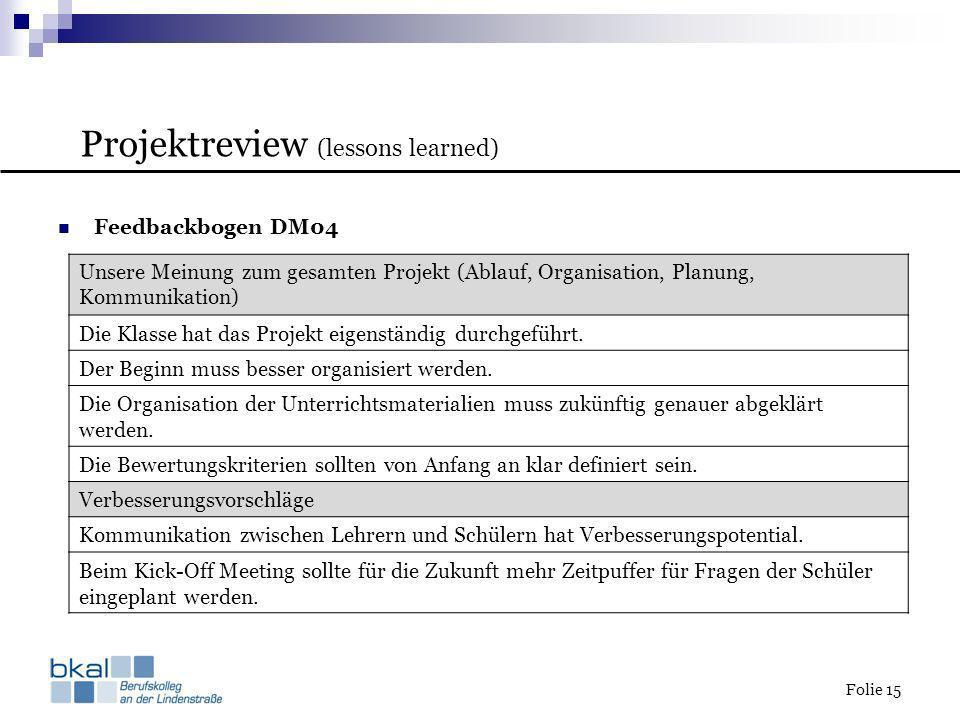 Folie 15 Feedbackbogen DM04 Unsere Meinung zum gesamten Projekt (Ablauf, Organisation, Planung, Kommunikation) Die Klasse hat das Projekt eigenständig
