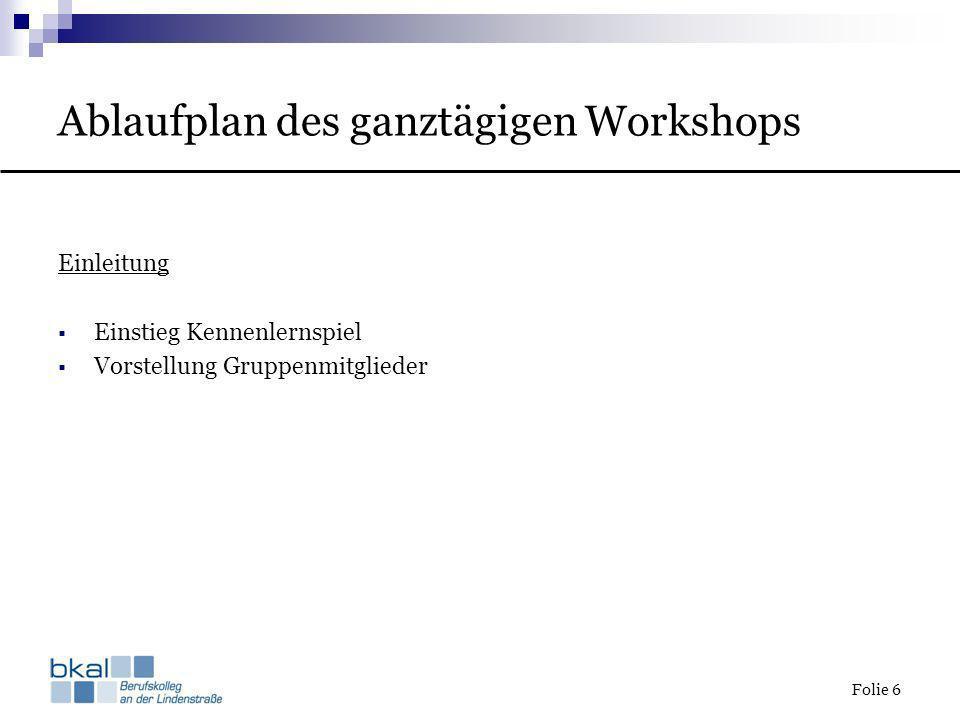 Folie 6 Ablaufplan des ganztägigen Workshops Einleitung Einstieg Kennenlernspiel Vorstellung Gruppenmitglieder
