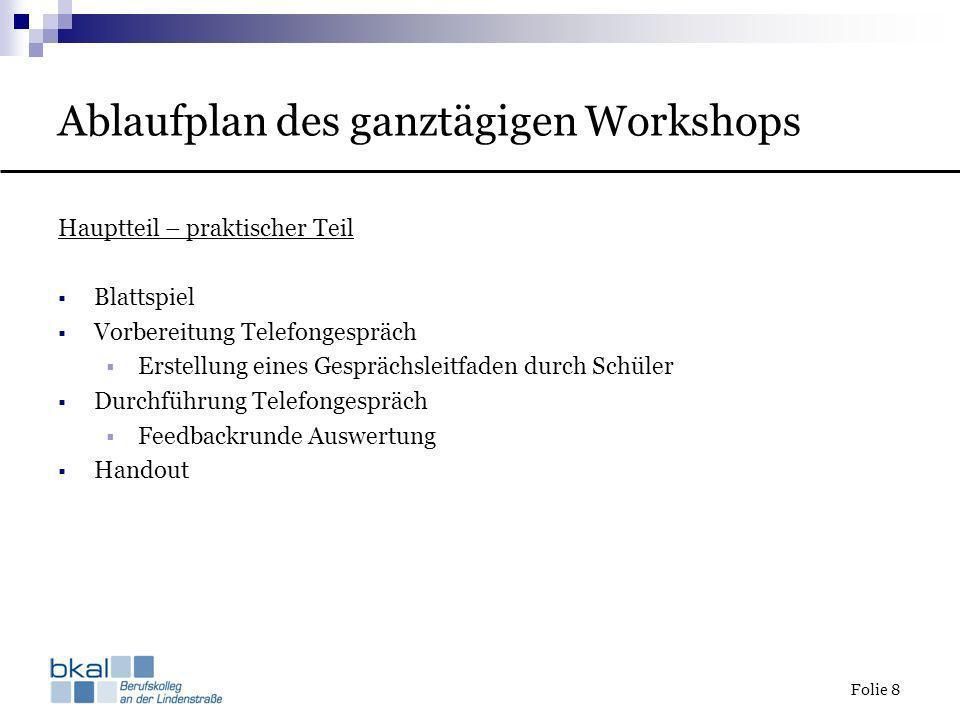 Folie 8 Ablaufplan des ganztägigen Workshops Hauptteil – praktischer Teil Blattspiel Vorbereitung Telefongespräch Erstellung eines Gesprächsleitfaden