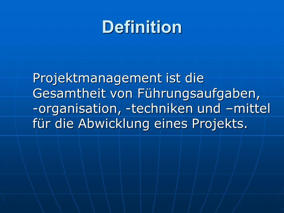 Definition Projektmanagement ist die Gesamtheit von Führungsaufgaben, -organisation, -techniken und –mittel für die Abwicklung eines Projekts.