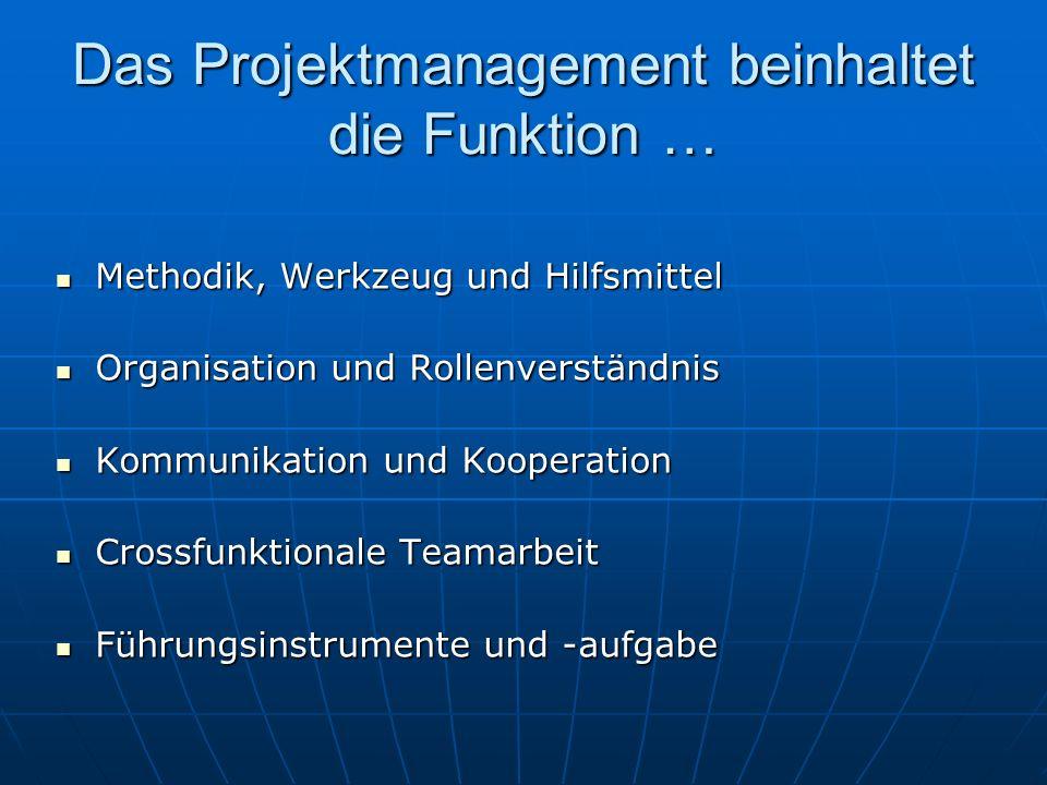 Das Projektmanagement beinhaltet die Funktion … Methodik, Werkzeug und Hilfsmittel Methodik, Werkzeug und Hilfsmittel Organisation und Rollenverständn