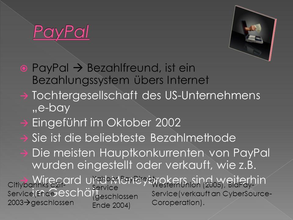 PayPal Bezahlfreund, ist ein Bezahlungssystem übers Internet Tochtergesellschaft des US-Unternehmens e-bay Eingeführt im Oktober 2002 Sie ist die beliebteste Bezahlmethode Die meisten Hauptkonkurrenten von PayPal wurden eingestellt oder verkauft, wie z.B.