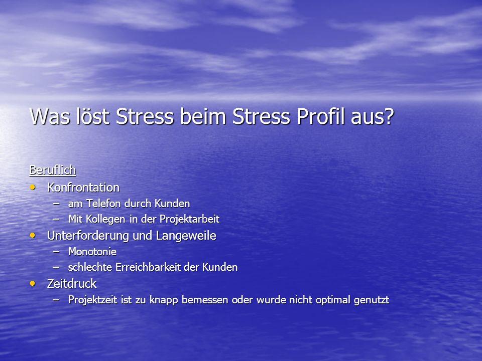 Was löst Stress beim Stress Profil aus? Beruflich Konfrontation Konfrontation –am Telefon durch Kunden –Mit Kollegen in der Projektarbeit Unterforderu