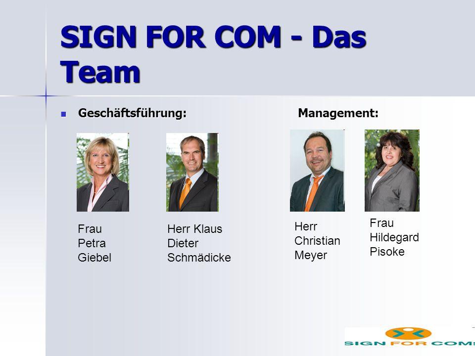 SIGN FOR COM - Das Team Geschäftsführung: Management: Geschäftsführung: Management: Frau Petra Giebel Herr Klaus Dieter Schmädicke Herr Christian Meyer Frau Hildegard Pisoke
