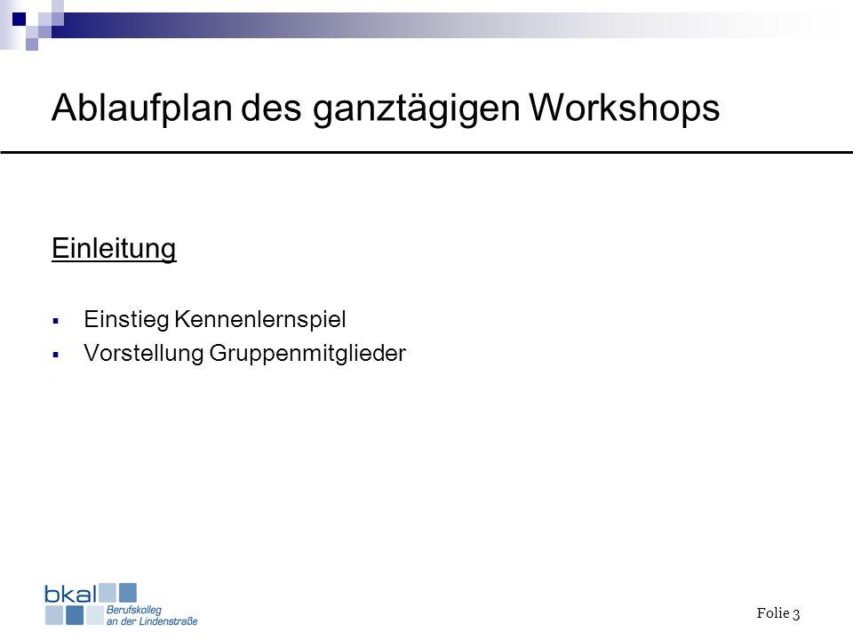 Folie 3 Ablaufplan des ganztägigen Workshops Einleitung Einstieg Kennenlernspiel Vorstellung Gruppenmitglieder