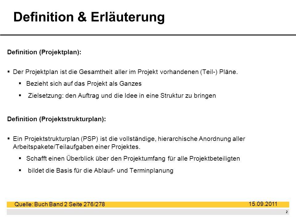 2 15.09.2011 Definition & Erläuterung Definition (Projektplan): Der Projektplan ist die Gesamtheit aller im Projekt vorhandenen (Teil-) Pläne.