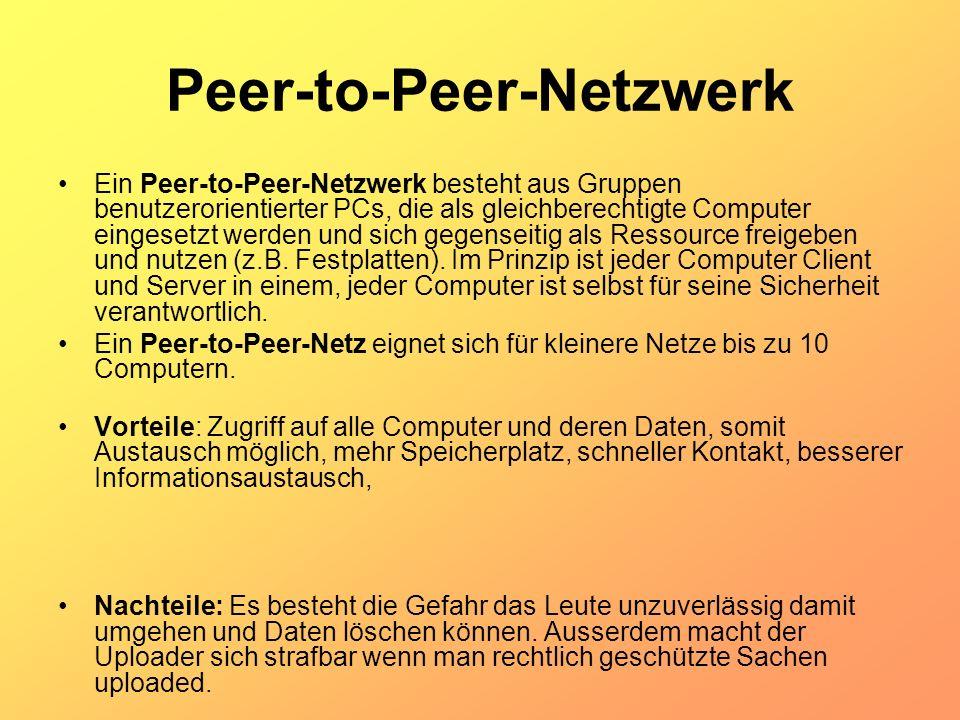 Peer-to-Peer-Netzwerk Ein Peer-to-Peer-Netzwerk besteht aus Gruppen benutzerorientierter PCs, die als gleichberechtigte Computer eingesetzt werden und