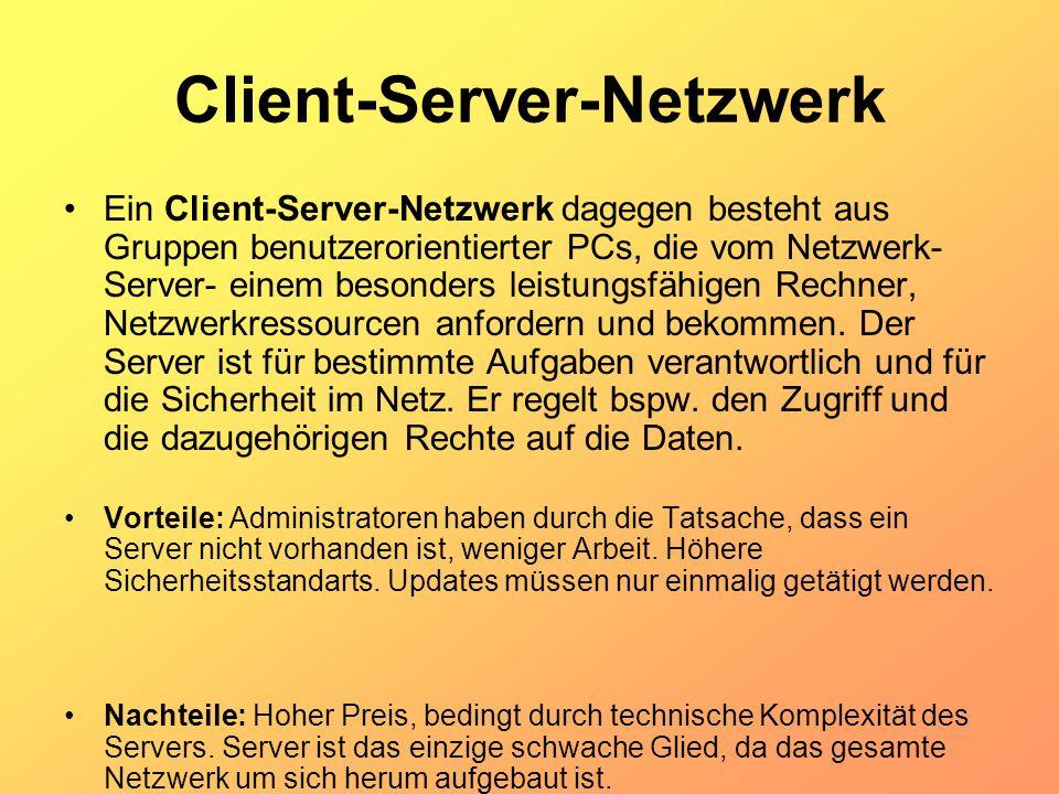 Client-Server-Netzwerk Ein Client-Server-Netzwerk dagegen besteht aus Gruppen benutzerorientierter PCs, die vom Netzwerk- Server- einem besonders leis