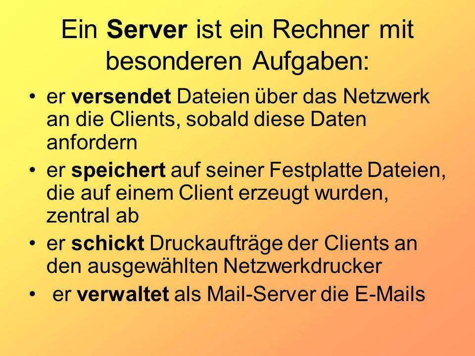 Ein Server ist ein Rechner mit besonderen Aufgaben: er versendet Dateien über das Netzwerk an die Clients, sobald diese Daten anfordern er speichert a