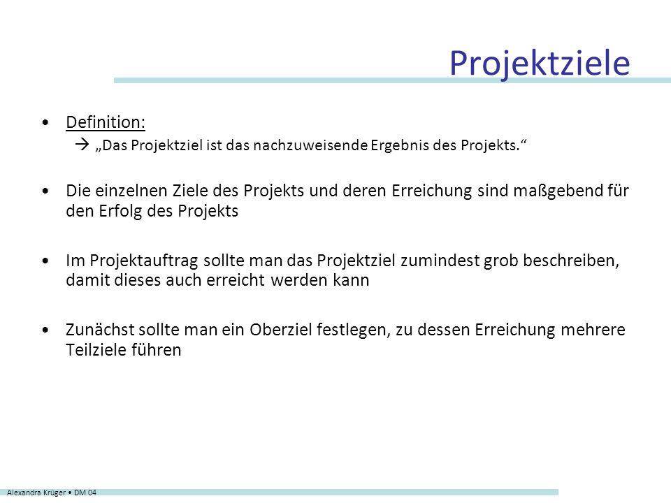 Projektziele Definition: Das Projektziel ist das nachzuweisende Ergebnis des Projekts. Die einzelnen Ziele des Projekts und deren Erreichung sind maßg