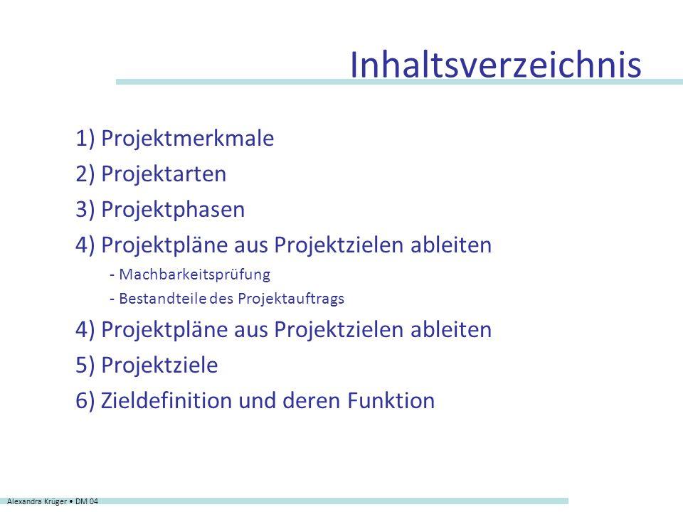 1) Projektmerkmale 2) Projektarten 3) Projektphasen 4) Projektpläne aus Projektzielen ableiten - Machbarkeitsprüfung - Bestandteile des Projektauftrag
