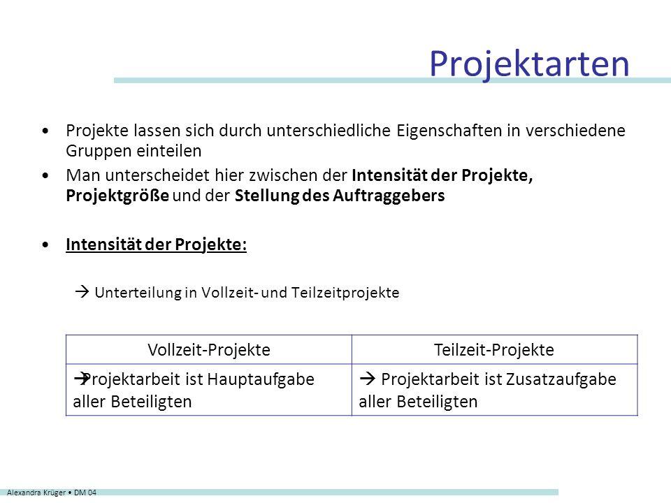 Projektarten Intensität der Projekte: Unterteilung in A- und B-Projekte Alexandra Krüger DM 04 A-ProjekteB-Projekte Zeitlicher Rahmen Laufzeit von größer/gleich x Monaten Laufzeit von bis zu x Monaten Finanzieller Rahmen Projektbudget größer/gleich y (einschließlich interne Projektkosten) Projektbudget von bis zu y (einschließlich interne Projektkosten)