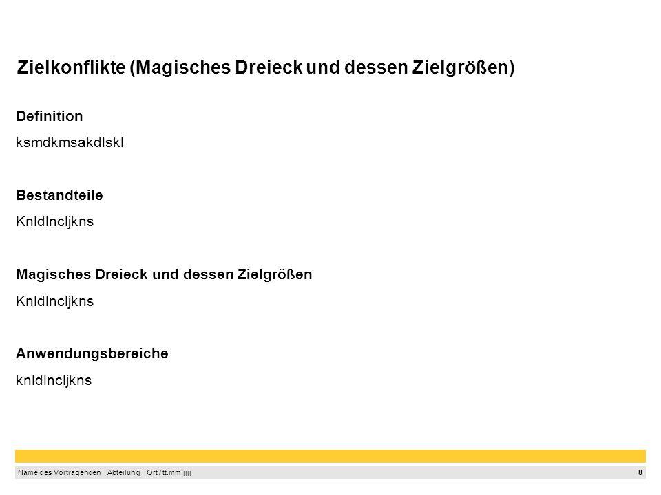 7 Name des Vortragenden Abteilung Ort / tt.mm.jjjj Projektinhalt- und Ziele (Zieldefinition, Funktionen der Ziele, SMART-Regel) Zieldefinition ksmdkms