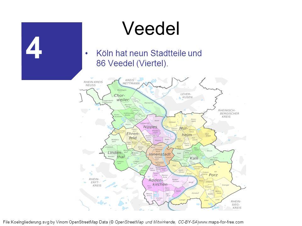 Veedel Köln hat neun Stadtteile und 86 Veedel (Viertel). File:Koelngliederung.svg by Vinom OpenStreetMap Data (© OpenStreetMap und Mitwirkende, CC-BY-
