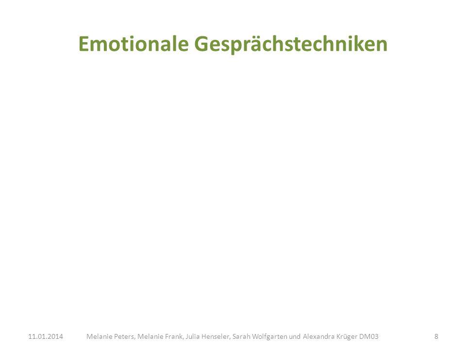 Emotionale Gesprächstechniken Melanie Peters, Melanie Frank, Julia Henseler, Sarah Wolfgarten und Alexandra Krüger DM0311.01.20148