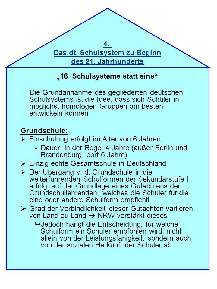 16 Schulsysteme statt eins Die Grundannahme des gegliederten deutschen Schulsystems ist die Idee, dass sich Schüler in möglichst homologen Gruppen am