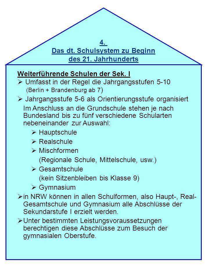 4. Das dt. Schulsystem zu Beginn des 21. Jahrhunderts Weiterführende Schulen der Sek. I Umfasst in der Regel die Jahrgangsstufen 5-10 (Berlin + Brande