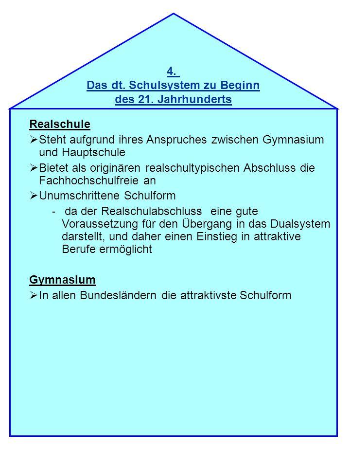 4. Das dt. Schulsystem zu Beginn des 21. Jahrhunderts Realschule Steht aufgrund ihres Anspruches zwischen Gymnasium und Hauptschule Bietet als originä