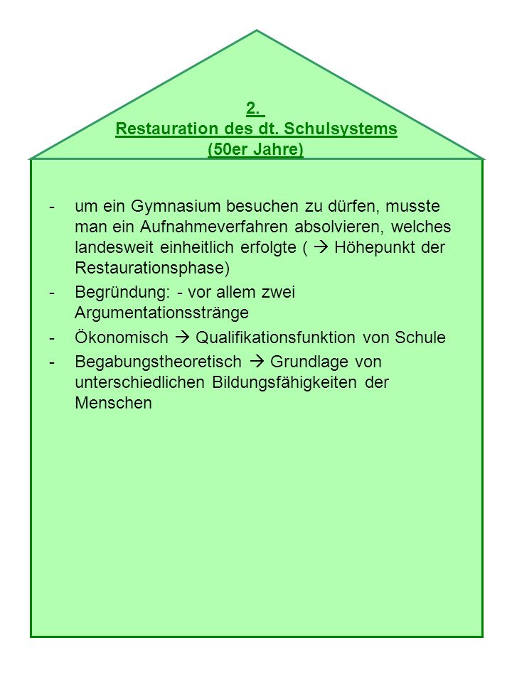 -1959 kam es zu einem Rahmenplan zur Umgestaltung und Vereinheitlichung des allgemeinbildenden Schulwesens des deutschen Ausschusses Beschluss gegen eine Einheitsschule auch zu Lasten geringer Durchlässigkeit Betonung einer begabungstheoretischen Argumentation Einführung der 2jährigen Förderstufe nach der 4jährigen Grundschule Aufwertung der Volksschule zur Hauptschule 2.