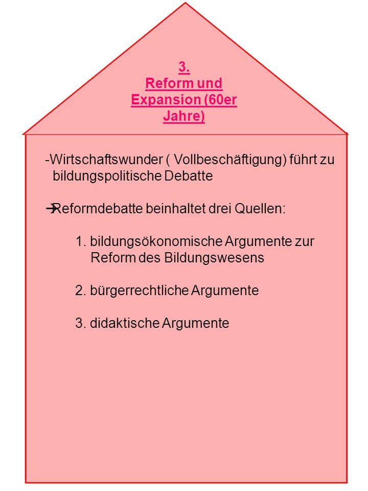 3. Reform und Expansion (60er Jahre) -Wirtschaftswunder ( Vollbeschäftigung) führt zu bildungspolitische Debatte Reformdebatte beinhaltet drei Quellen