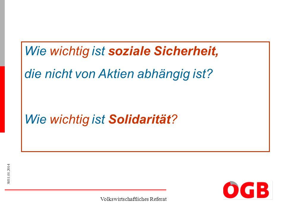 38/11.01.2014 Volkswirtschaftliches Referat Wie wichtig ist soziale Sicherheit, die nicht von Aktien abhängig ist? Wie wichtig ist Solidarität?