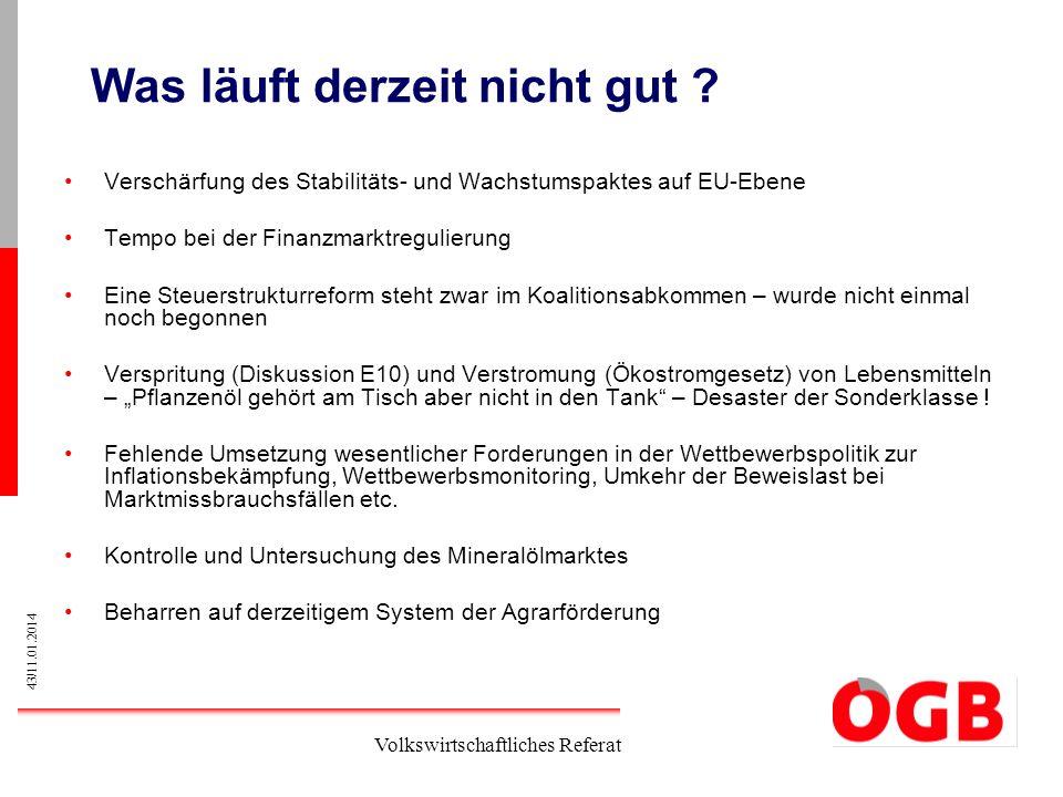 43/11.01.2014 Volkswirtschaftliches Referat Was läuft derzeit nicht gut ? Verschärfung des Stabilitäts- und Wachstumspaktes auf EU-Ebene Tempo bei der